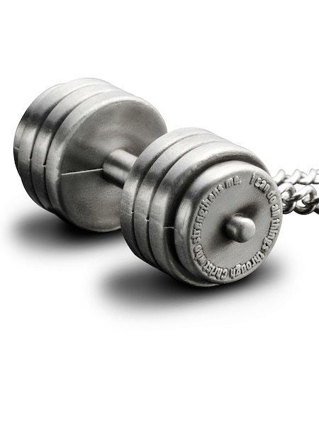 Men/'s Antique Finish Stack Plate Dumbbell Necklace-Phil.4:13 Shields of Strength