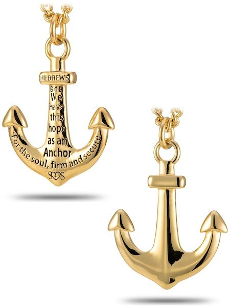 Men S Gold Anchor Necklace Large Anchor Necklace Gold