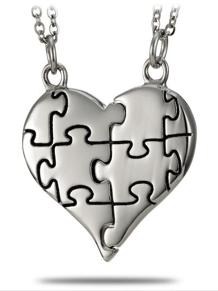 e85218fc7475c Stainless Steel Puzzle Piece Split Heart Necklace-Genesis 31:49