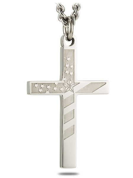 Men's Stainless Steel Flag Cross Necklace-Proverbs 30:5