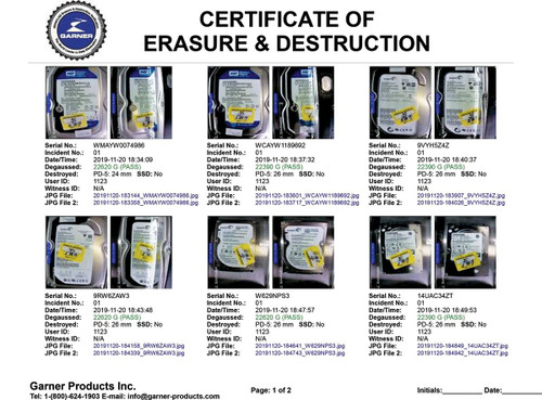 TS-1XT Proof-of-destruction certificate for audit