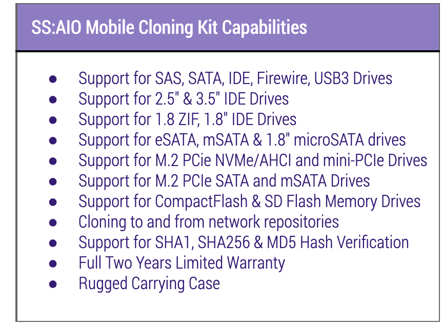 SS:AIO Mobile Wiping and Cloning Kit Capabilities