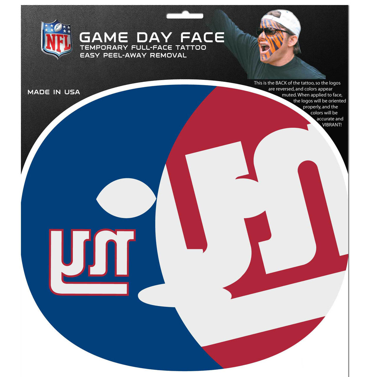 New York Giants Nfl Face Paint Mask Tattoo Kit Dragon Sports