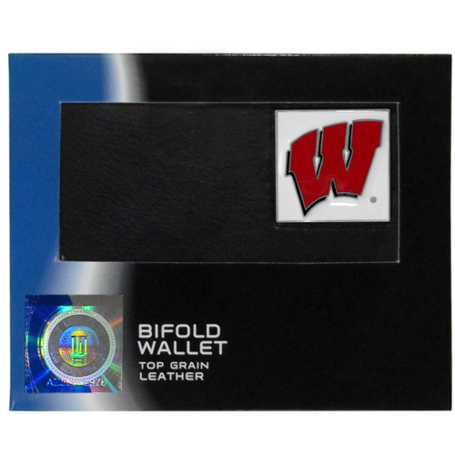 Wisconsin Badgers Leather Bi-fold Wallet w/ Gift Box
