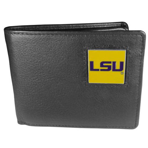LSU Tigers Leather Bi-fold Wallet w/ Gift Box