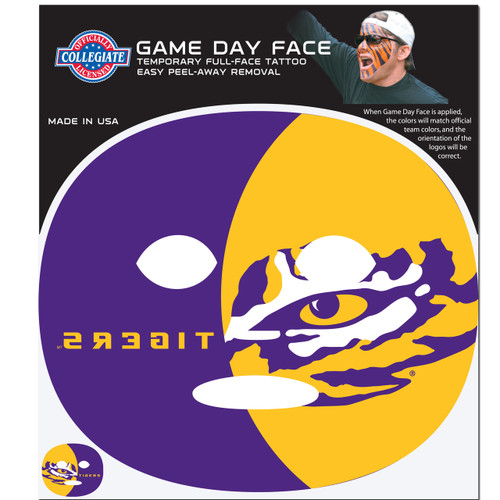 LSU Tigers Game Face Temporary Tattoo