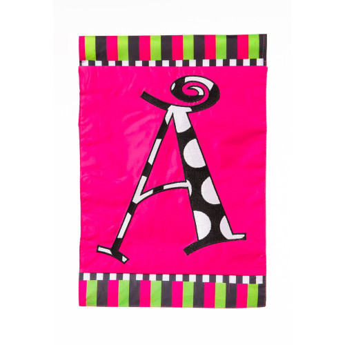 "A Monogram 12.5"" x 18"" Pink Party Two Sided Garden Flag"
