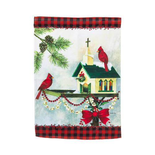 "Christmas In The Garden Chruch Bird House 12.5"" x 18"" Suede Garden Flag"