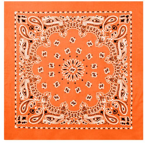Paisley Orange Bandana - Large