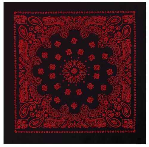 Paisley Black Red Bandana - Large