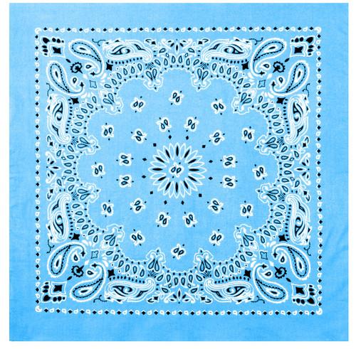 Paisley Light Blue Bandana - Large