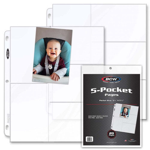 Pro 5-Pocket Photo Page (20 CT. Pack)