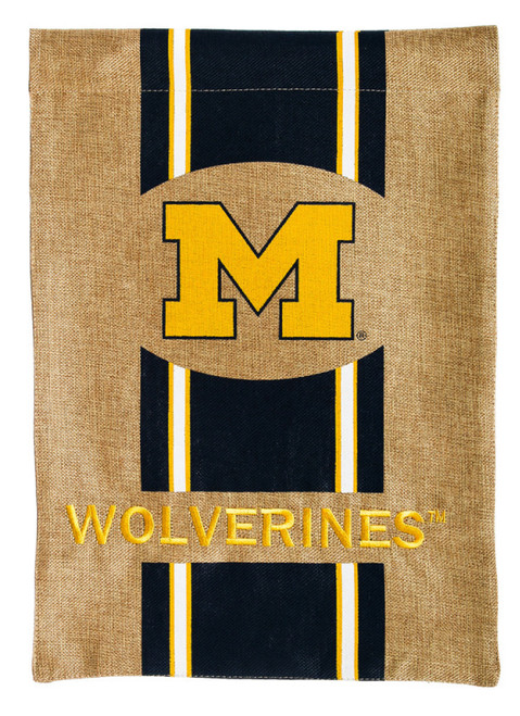 Michigan Wolverines Burlap House Flag Banner