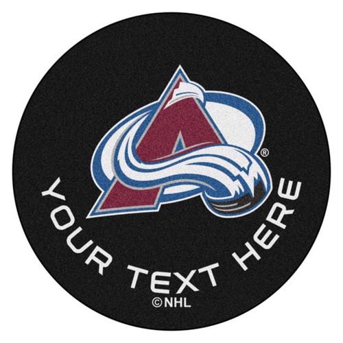 Colorado Avalanche Personalized Hockey Puck Mat - Black