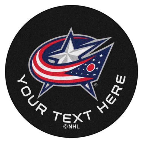 Columbus Blue Jackets Personalized Hockey Puck Mat - Black
