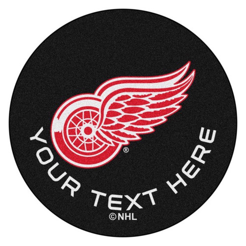 Detroit Red Wings Personalized Hockey Puck Mat - Black