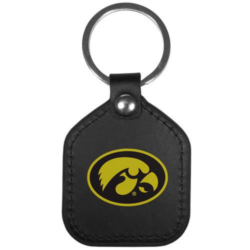Iowa Hawkeyes Leather Square Key Chain