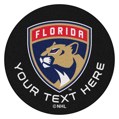 Florida Panthers Personalized Hockey Puck Mat - Black