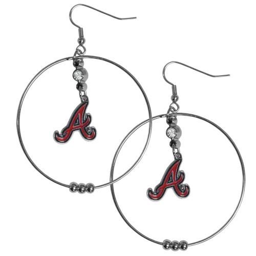 Atlanta Braves MLB Large Rhinestone Hoop Dangle Earrings