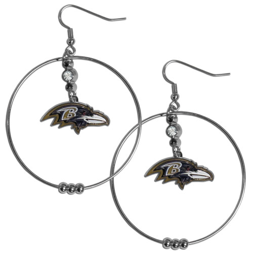 Baltimore Ravens NFL Large Rhinestone Hoop Dangle Earrings