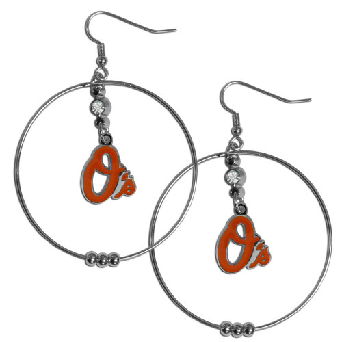 Baltimore Orioles MLB Large Rhinestone Hoop Dangle Earrings