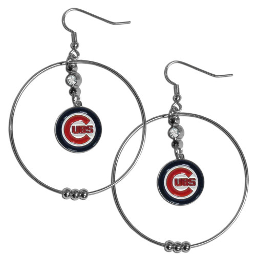 Chicago Cubs MLB Large Rhinestone Hoop Dangle Earrings