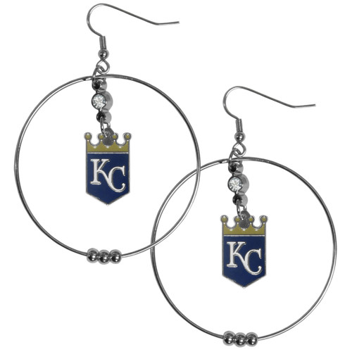 Kansas City Royals MLB Large Rhinestone Hoop Dangle Earrings
