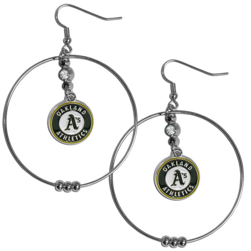 Oakland Athletics MLB Large Rhinestone Hoop Dangle Earrings