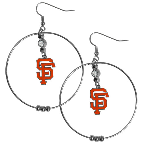 San Francisco Giants MLB Large Rhinestone Hoop Dangle Earrings