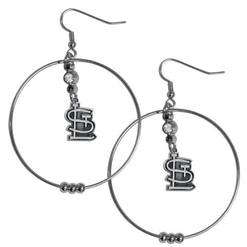 St Louis Cardinals MLB Large Rhinestone Hoop Dangle Earrings