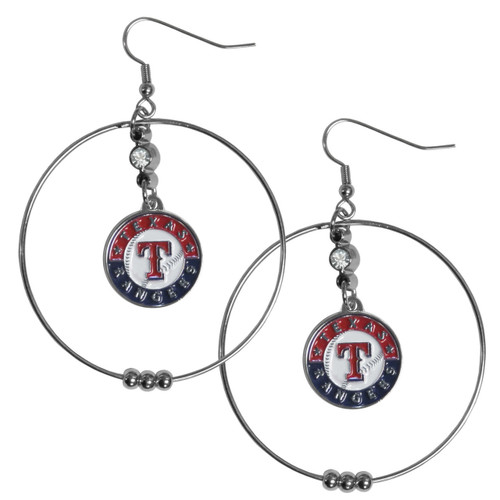 Texas Rangers MLB Large Rhinestone Hoop Dangle Earrings