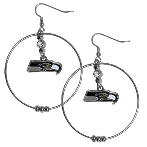 Seattle Seahawks NFL Rhinestone Hoop Dangle Earrings