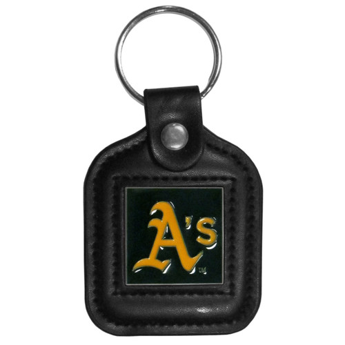 Oakland Athletics MLB Square Leather Key Chain Fob