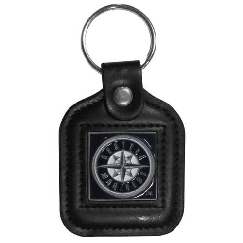 Seattle Mariners MLB Square Leather Key Chain Fob