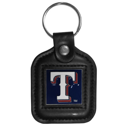 Texas Rangers MLB Square Leather Key Chain Fob