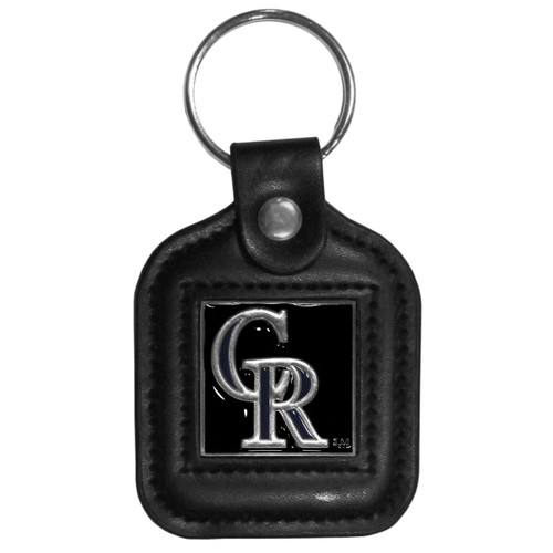 Colorado Rockies MLB Square Leather Key Chain Fob