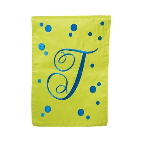 J Monogram Green Blue Polka Dot Garden Flag