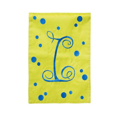 I Monogram Green Blue Polka Dot Garden Flag