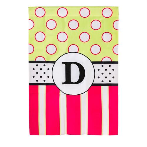 D Monogram Peppy Pink Polka Dot Party House Flag Banner
