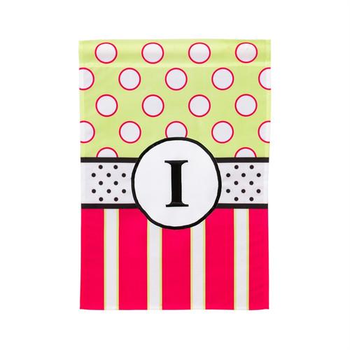 I Monogram Peppy Pink Polka Dot Garden Flag Banner
