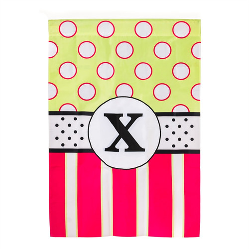 X Monogram Peppy Pink Polka Dot Party House Flag Banner