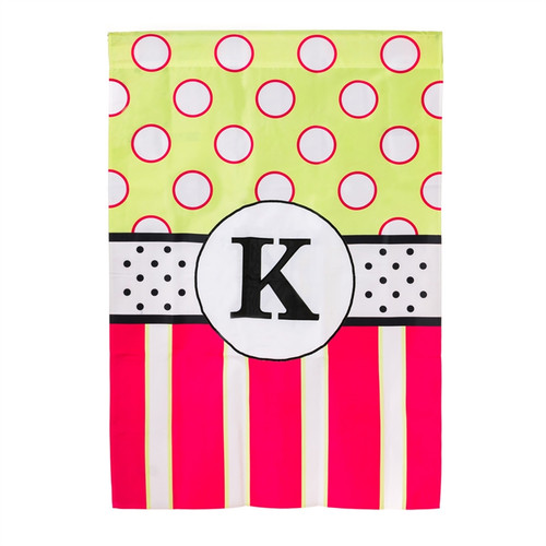 K Monogram Peppy Pink Polka Dot Party House Flag Banner