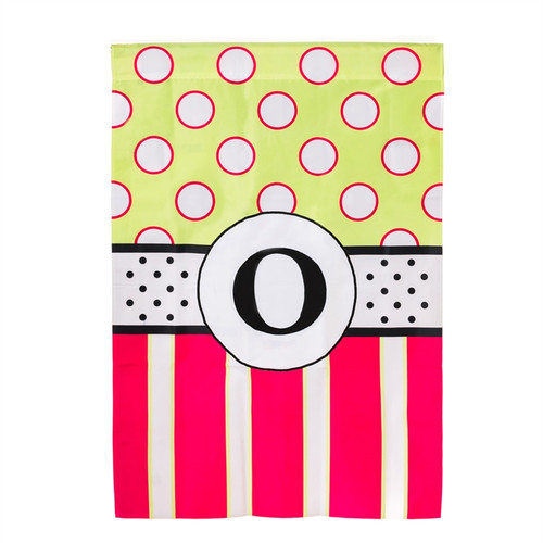 O Monogram Peppy Pink Polka Dot Party House Flag Banner