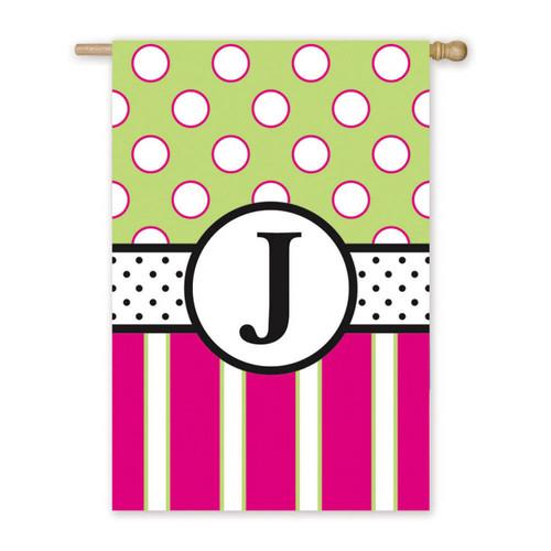J Monogram Peppy Pink Polka Dot Party House Flag Banner