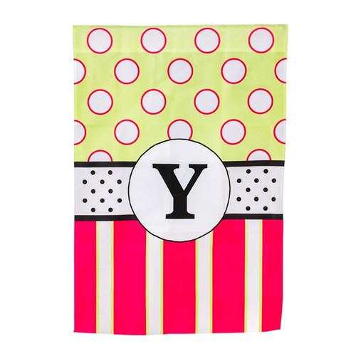 Monogram Letter Y Peppy Pink Polka Dot Party House Flag Banner