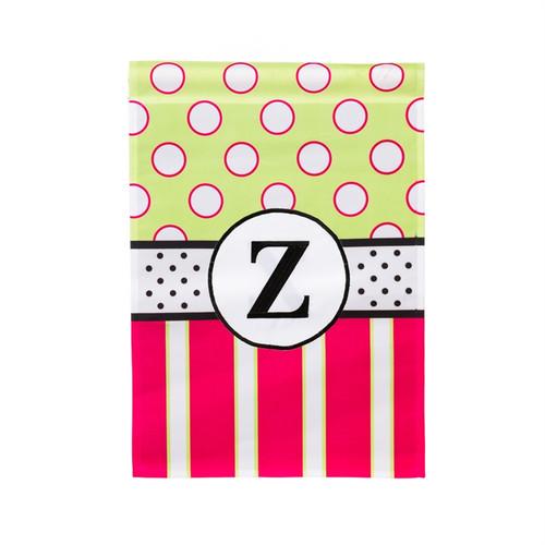 Z Monogram Peppy Pink Polka Dot Garden Flag Banner