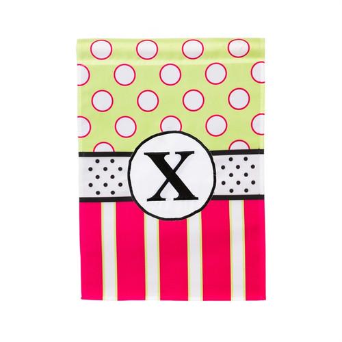 X Monogram Peppy Pink Polka Dot Garden Flag Banner