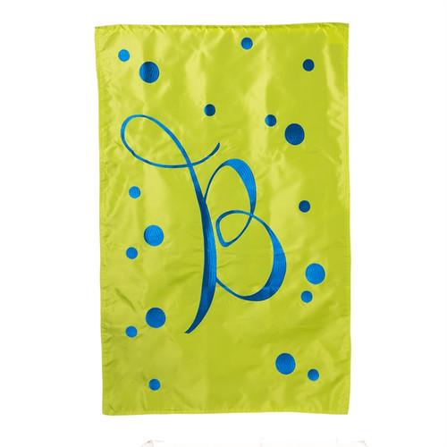 B Monogram Green Blue Polka Dot House Flag Banner