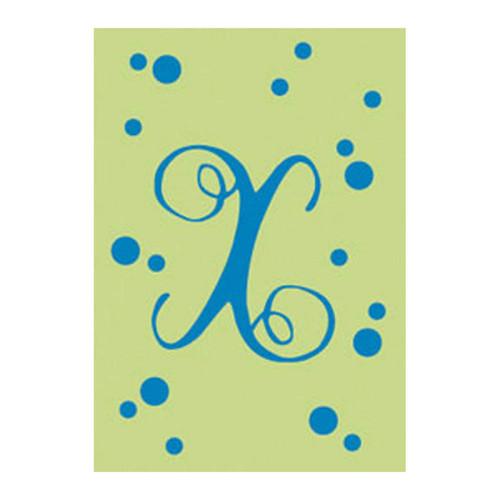 X Monogram Green Blue Polka Dot House Flag Banner
