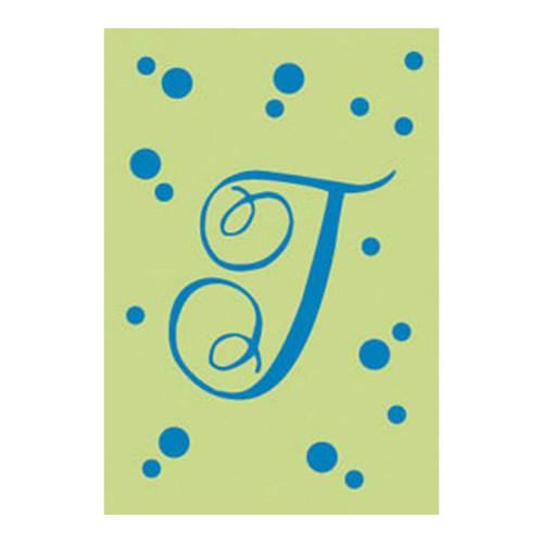 J Monogram Green Blue Polka Dot House Flag Banner